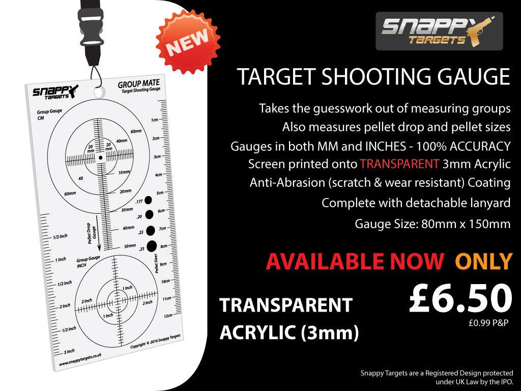 Snappy Targets - Target Shooting Gauge - Air Gun, Air Rifle, Pellet Drop, pistol