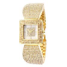 Alias Kim Square Gold Crystal Case Face Women Steel Bangle Bracelet Quartz Watch
