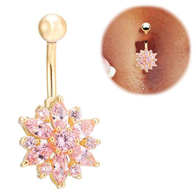 Cute Belly Button Ring Crystal Rhinestone Flower Jewelry Navel Bar Body Piercing