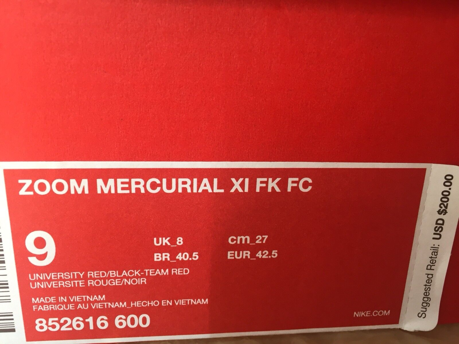 c413bb67f25 ... 200 Nike Zoom Mercurial XI Flyknit FC FC FC 9 Soccer shoes Black Red  Bred 852616