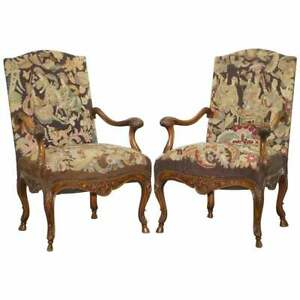 PAIR-OF-FRENCH-CIRCA-1850-WALNUT-TAPESTRY-EMBROIDERED-FAUTEUILS-ARMCHAIRS