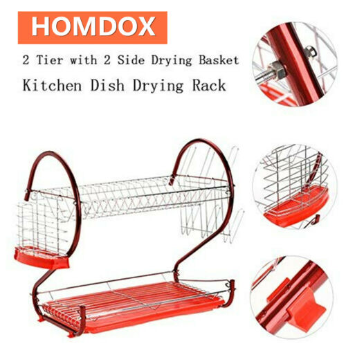 HOMDOX 2 Tier Dish Rack Drainer Cutlery Cup Drying Kitchen Stainless Steel Tray
