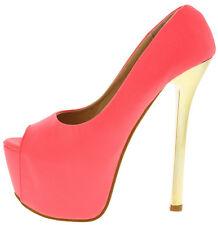 Neon Coral Peep Toe Platform Pump Sexy High Polish Stiletto Heel Shoes, US 9