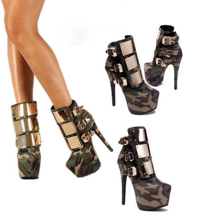 Sexy New donna Metal  Buckle Riding Camo High Heel Platform Ankle stivali Stiletto  a prezzi accessibili