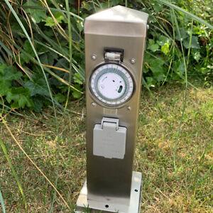 Aussensteckdose-Edelstahl-Gartensteckdose-Steckdosensaeule-2fach-mit-Zeitschaltuhr