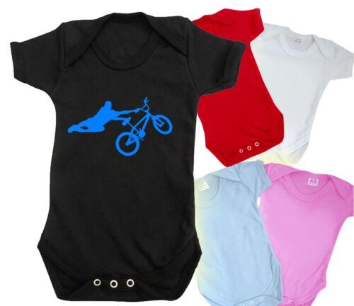 1 bmx drôle bébé grandir body mignon vélo rampe Saut Rétro T Shirt Haut Bnwt