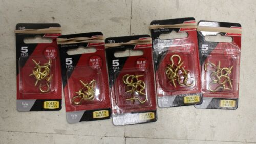 L Cup Hook 8 lb. 5 Packs of 5 01-3477-468 Small Green Polished Brass 0.875 in