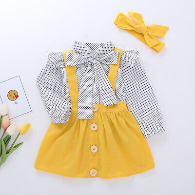 Cute Toddler Infant Newborn Baby Girl 3Pcs Overalls Skirt Headband+Romper Clothes Summer Autumn Outfits Baby Girls Dresses