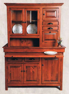 Details About Large Pine Hoosier Cabinet, Antique Reproduction, Chestnut  Finish, Made In USA