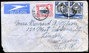 BRITISH-KENYA-UGANDA-TO-USA-Old-Air-Mail-Cover-VF