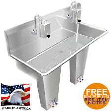 Industrial Hand Sink Stainless S 2 Users 42 Pedal Valve Hands Free Made In Usa