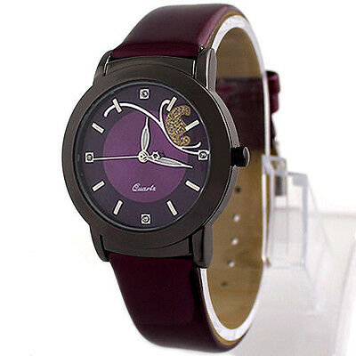 Novelty Women's Ladies Sweet Faux Leather Dress Analog Quartz Wrist Watches Gift