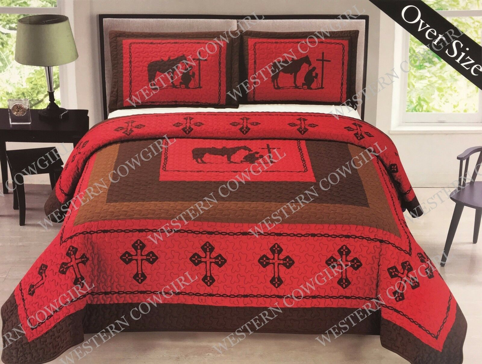 Cowboys Comforter: Texas Praying Cowboy Cross Western Quilt Bedspread