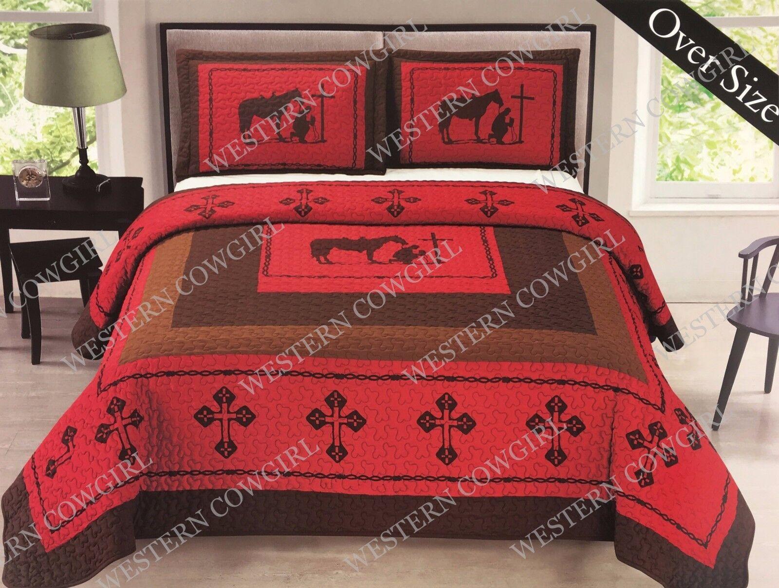 Texas Praying Cowboy Cross Western Quilt Bedspread