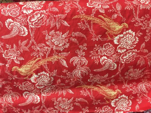 """Beautiful Williamsburg Toile Fabric /""""Charlton Toile/"""" Birds Floral Cotton BTY"""
