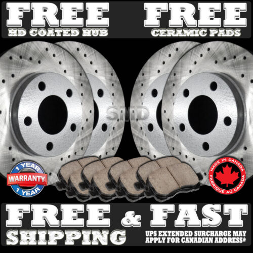 P0346 2 Front 2 Rear Cross Drilled Brake Rotors and 8 Ceramic Pads