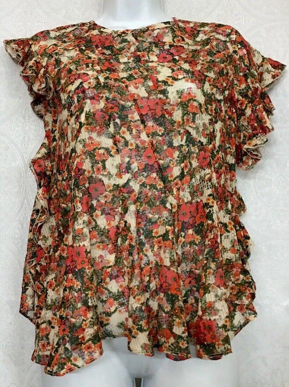 Isabel Marant Blouse MulticolGoldt Floral Sleeveless Ruffle Trim Nwt Größe 36