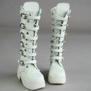 PF 17# 1//3 SD DZ AOD BJD Dollfie Synthetic White Doll Leather Boots Shoes