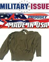 Military Issue Army Sweater 5 Button Od/brown Army Jeep Sweater (med 38-40)