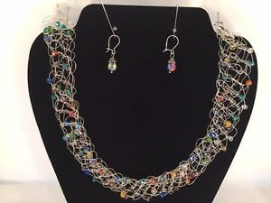 Sterling Silver Crocheted Wire Necklace,Drop Earrings - Swarovski Crystals 4694