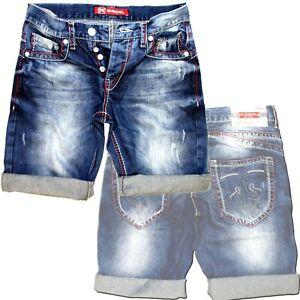 R-Neal-7612-Dicke-Naht-Blau-Jeans-Capri-Kurze-Herren-Bermuda-Shorts-Denim-Hose