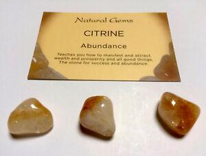 3 Citrine Gemstones Attracts Money And Abundance Chakra Reiki
