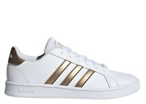 Adidas-Grand-Court-K-EF0101-Blanc-Bronze-Chaussures-Femme-Baskets-Sportif
