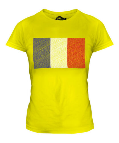 FRANCE SCRIBBLE FLAG LADIES T-SHIRT TEE TOP GIFT FRENCH FOOTBALL