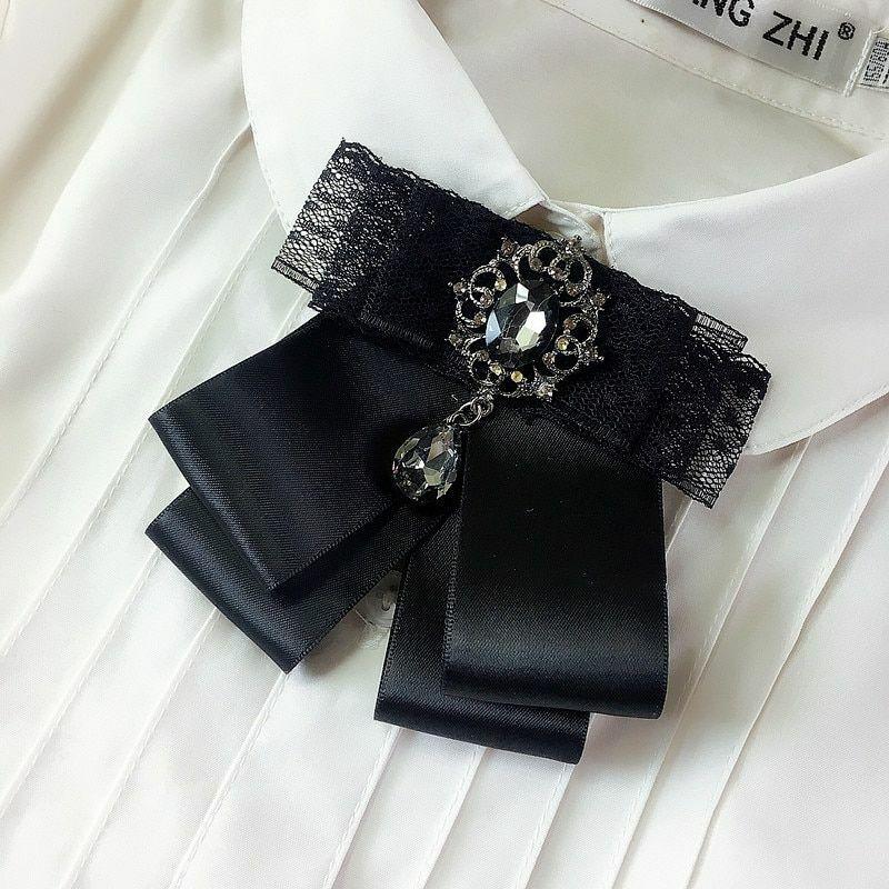 New Fashion Korean Lace Rhinestones Wind Collar Flower Brooch Bow Tie For Women