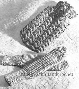 Knitting Patterns Bed Socks Easy : VINTAGE KNITTING PATTERN FOR BED SOCKS & HOT WATER BOTTLE ...