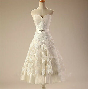 Details About Short Vintage Lace Wedding Dress Bridal Gown Size 2 4 6 8 10 12 14 16 18 20 22