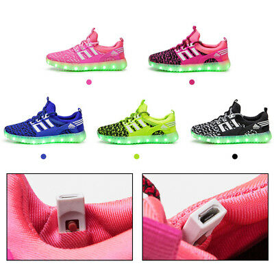 UK Light Up LED Flashing High Top Trainers Shoes Casual Sneakers Kids Boys Girls