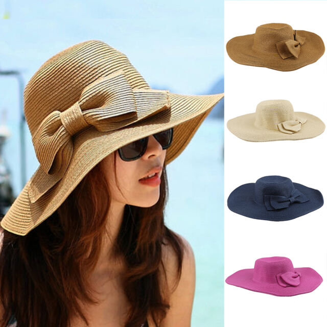 Womens Summer Wide Brim Foldable Sun Beach Straw Visor Hat Bohemia Floppy Cap