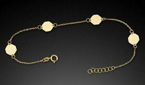 ECHT-GOLD-Feines-Achteck-Motiv-Armband-Armkette-17-19-cm