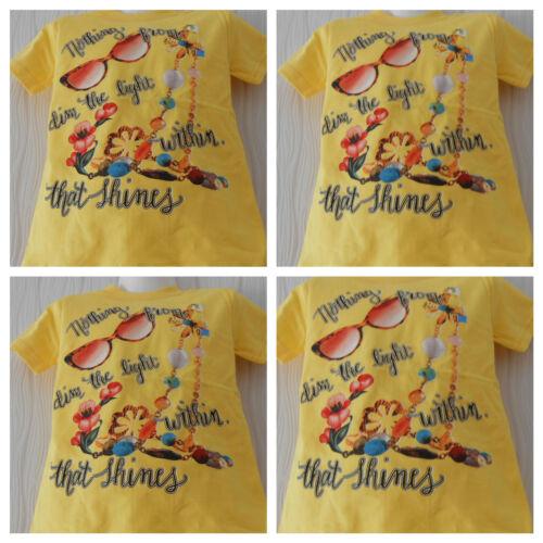 Shirt,Mädchen T-Shirt,Kurzarm Shirt,Gelb,Gr.,104,110,116,122,128