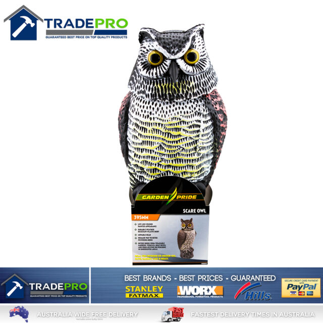 Scare Owl Rotating Head Large 40cm REALISTIC Possum Rodent Bird Pest Deterrent