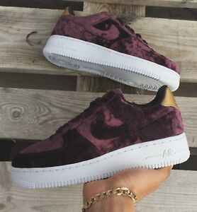 best service d45b7 364ed Image is loading Nike-Air-Force-1-Low-Burgundy-Premium-Velvet