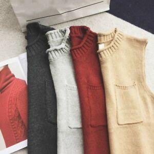 Men-Vest-Waistcoat-Gilet-Knit-Sleeveless-Tank-Top-Pocket-Sweater-Winter-Soft-Red