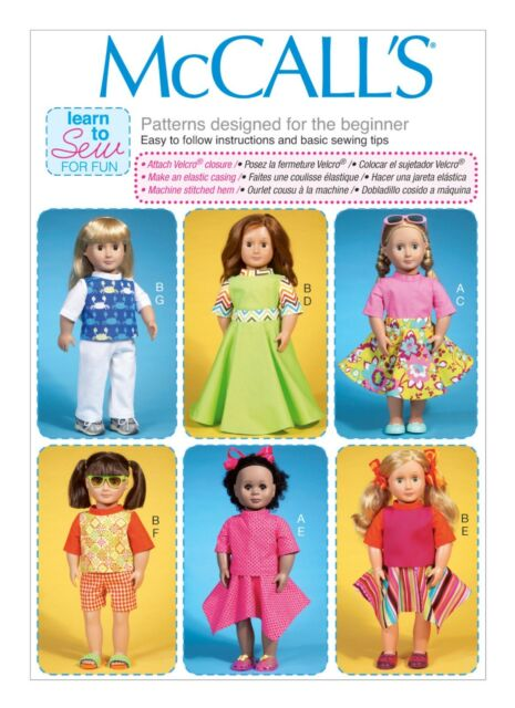 """McCalls SEWING PATTERN M7106 Learn To Sew For Fun 18"""" Dolls Clothes"""