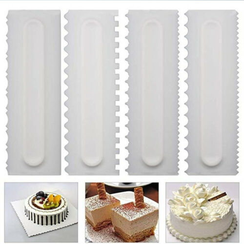 Cake Decorating Comb Icing Smoother Cake Scraper Pastry 4 Designs Baking Tool