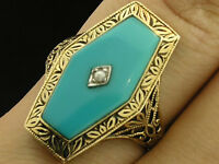 C1119 Genuine 9ct Solid Gold Large Natural Turquoise Etched Ring Made In Yr Size