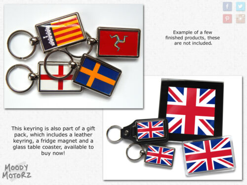Israel Flag National Colours Quality Chrome Keyring Picture Both Sides