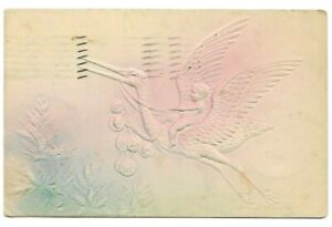 Vintage-Post-Card-c-1908-Embossed-Baby-Riding-A-Flying-Stork-Pink-amp-Blue-Shading