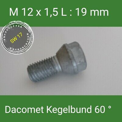 8 vis roue vis m14 x 1.5 x 27 cône kegelbund 60 ° sw17
