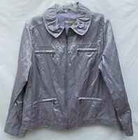 Tanjay Nygard 14 Lavender Glaze Jacket Shimmer Pockets Zip Front Bust 44