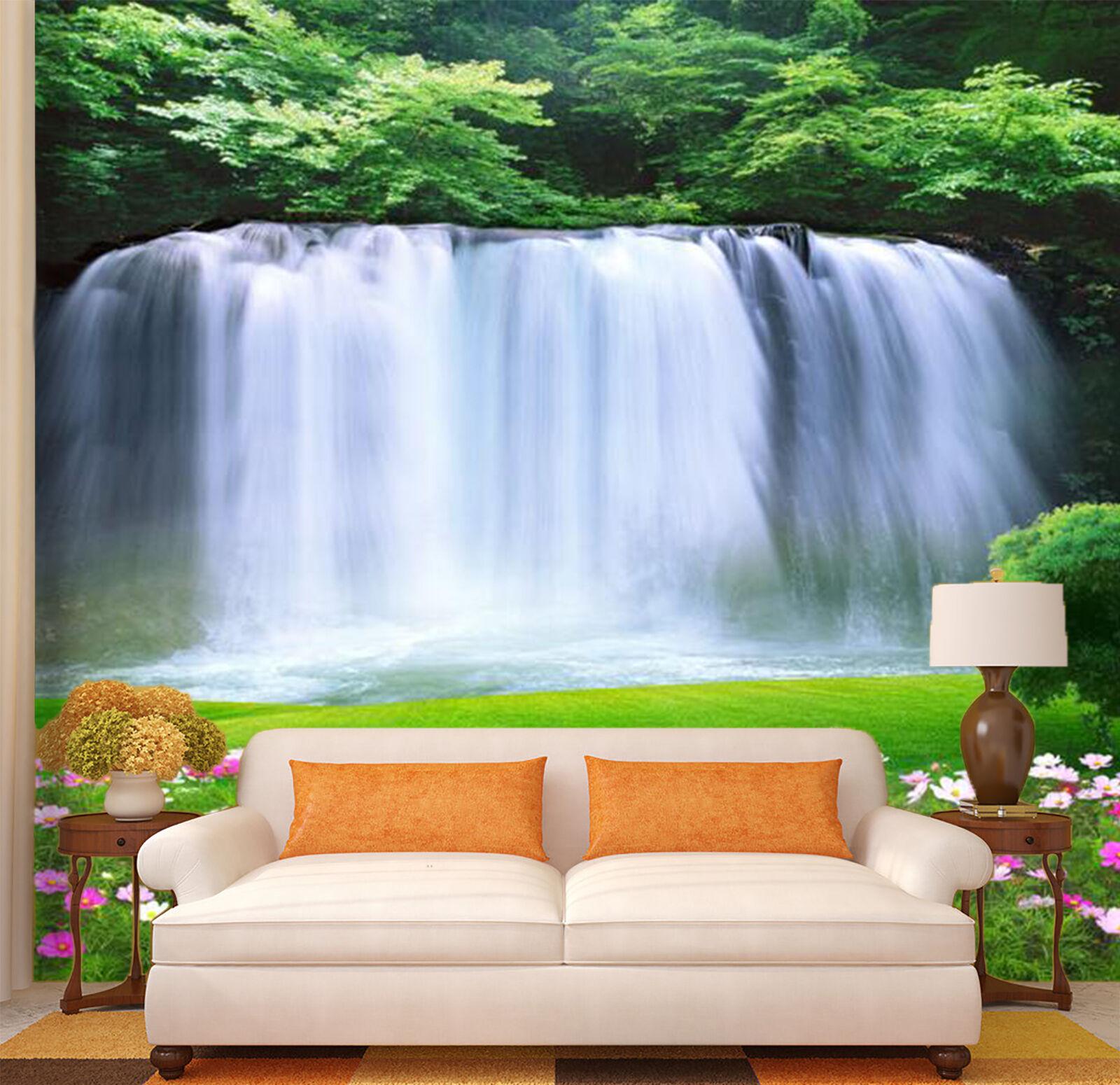 3D Wiese Wasserfall 7 Fototapeten Wandbild Fototapete Bild Tapete Familie Kinder
