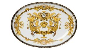 Euro-Porcelain-Medusa-Fine-Bone-China-Oval-Platter-24K-Gold-White-Serving-Tray