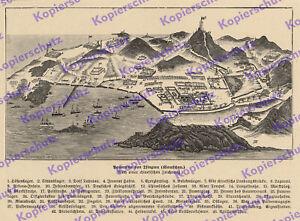 ORIG. in rilievo Panorama Tsingtau edificio porto post doganale militare topatau Cina 1909