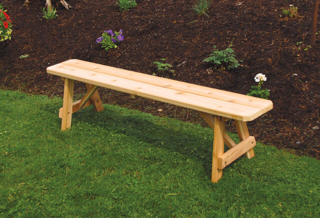 Outdoor 4 Foot Traditional Picnic Bench Only 8 Paint Colors Amish Made Usa