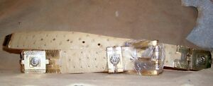 Genuine Oryx Tan Ostrich Full Quill Leather Belt 32 wit